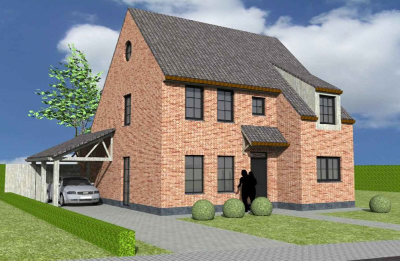 Nieuw te bouwen halfopen woning met vrije keuze van architectuur te Desteldonk.
