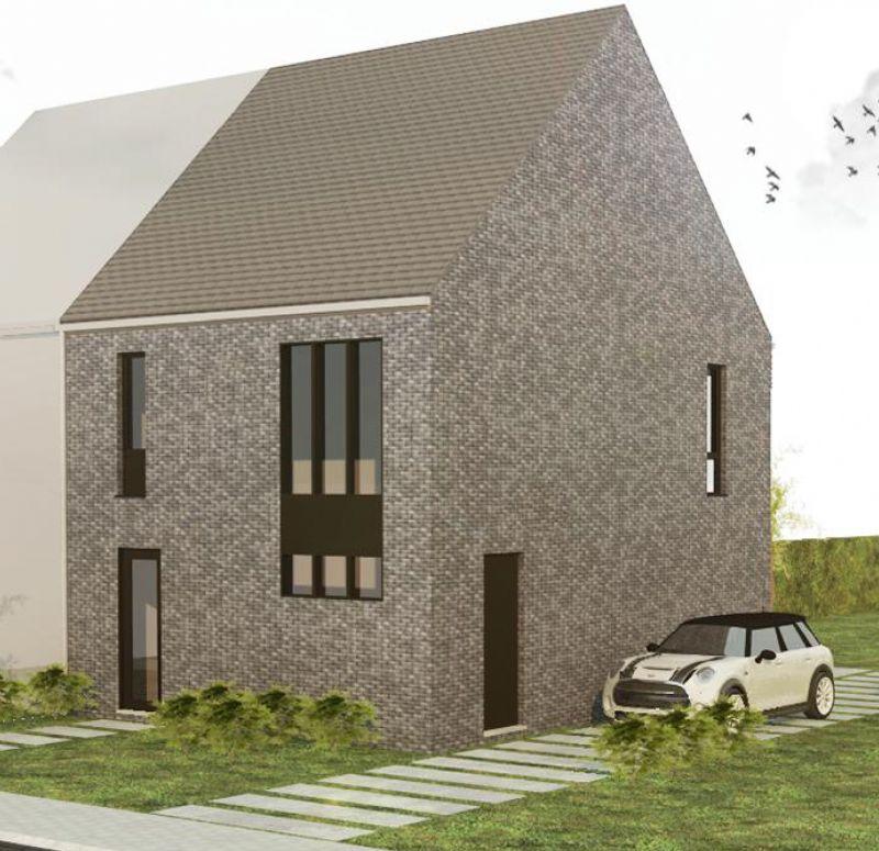 Nieuw te bouwen halfopen woning met vrije keuze van architectuur te Dentergem.