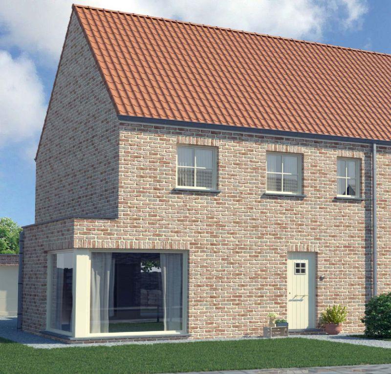 Nieuw te bouwen halfopen woning met vrije keuze van architectuur te Waasmunster.