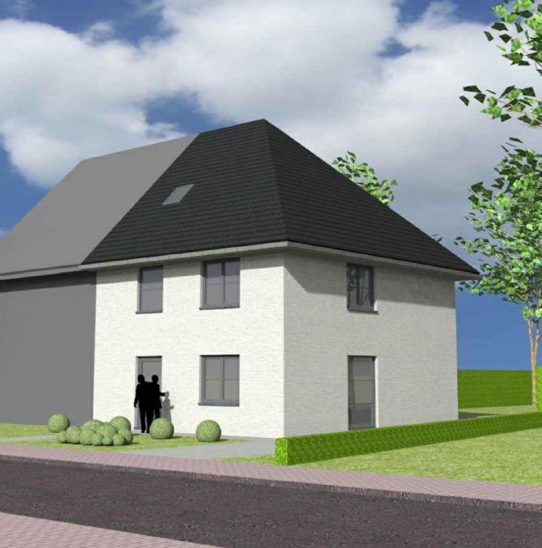 Nieuw te bouwen halfopen woning met vrije keuze van architectuur te Roeselare.