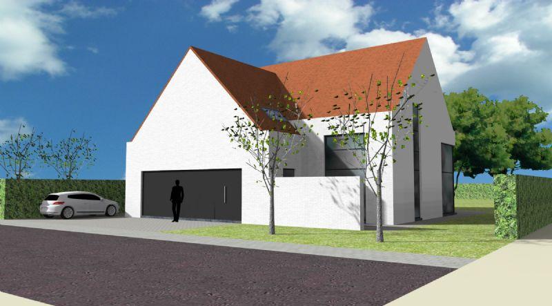 Nieuw te bouwen alleenstaande woning met vrije keuze van architectuur te Desselgem.